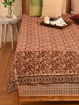 Multicolored Hand Block Printed Double Bedsheet (L - 110in, W - 85in)