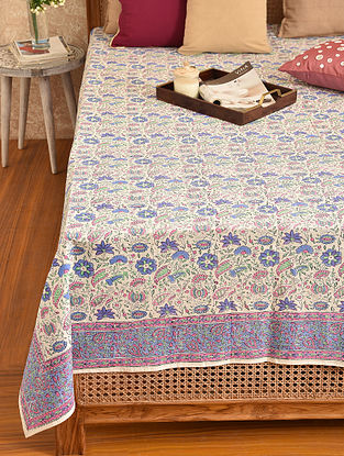 Multicolored Hand Block Printed Double Bedsheet (L - 108in, W - 87in)