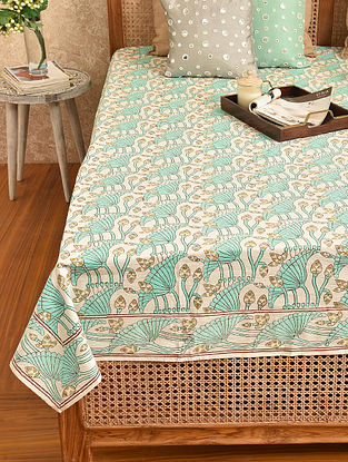 Multicolored Hand Block Printed Double Bedsheet (L - 108in, W - 88in)