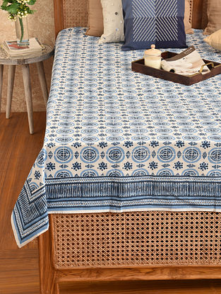 Multicolored Hand Block Printed Double Bedsheet (L - 107in, W - 88in)