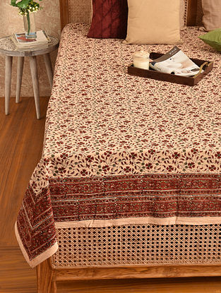 Multicolored Hand Block Printed Double Bedsheet (L - 105in, W - 88in)
