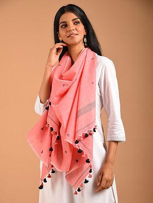 Pink Handwoven Jamdani Cotton` Stole