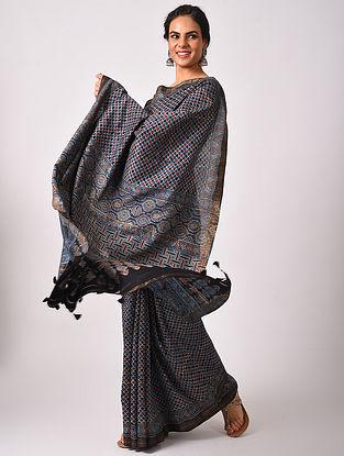Blue Maheshwari Handwoven  Cotton Silk Saree