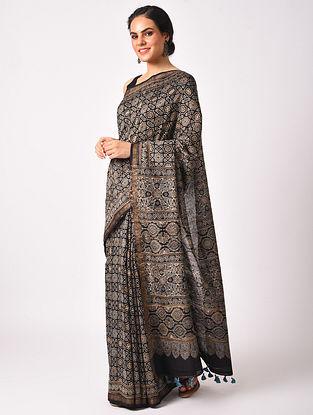 Black Maheshwari Handwoven  Cotton Silk Saree
