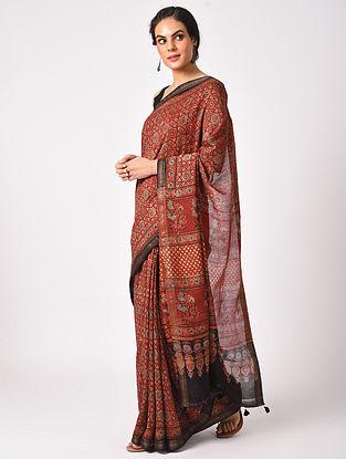 Red Maheshwari Handwoven  Cotton Silk Saree