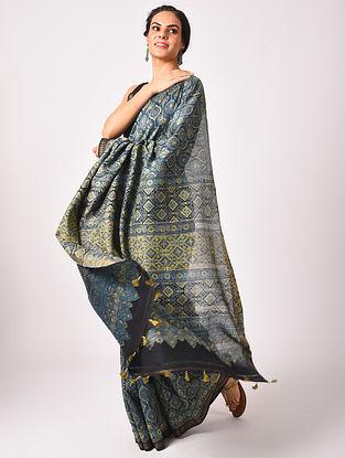 Green Maheshwari Handwoven  Cotton Silk Saree