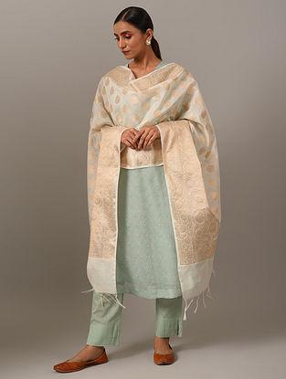 White Handwoven Benarasi Dupatta