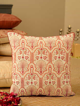 Coral Chanderi Embroidered Cushion Cover (L-16in, W-16in)