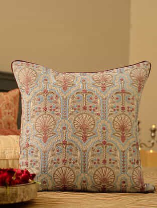 Multicolor Chanderi Embroidered Cushion Cover (L-16in, W-16in)