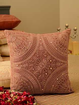 Pink Cotton Mirror Work Cushion Cover (L-15.5in, W-15.5in)