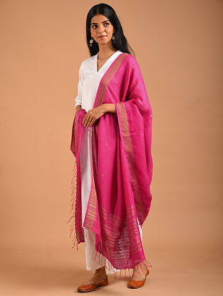 Pink Handwoven Linen Dupatta