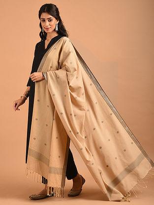 Beige Handwoven Jamdani Cotton Dupatta