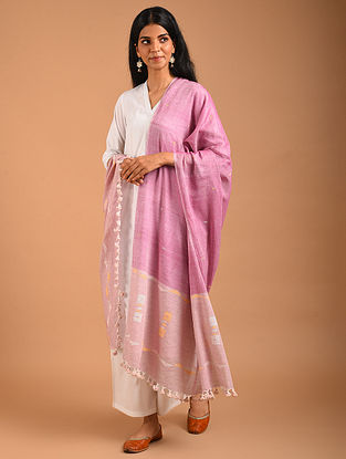 Pink Handwoven Jamdani Cotton Dupatta