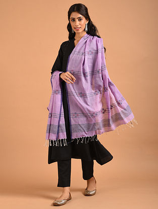 Purple Handwoven Jamdani Cotton Dupatta