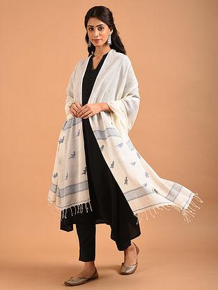 White Handwoven Jamdani Cotton Dupatta