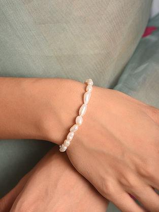 White Small Baroque Pearl Silver Bracelet