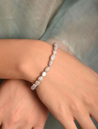 Grey Small Baroque Pearl Silver Bracelet