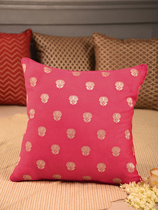 Pink Chanderi Brocade Cushion Cover (L-16in, W-16in)