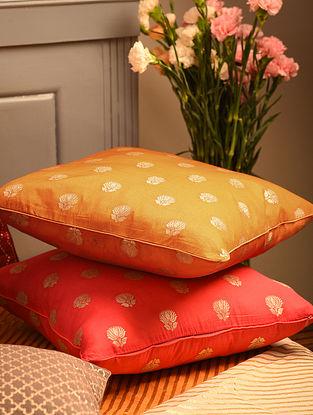 Ochre Chanderi Brocade Cushion Cover (L-16in, W-16in)