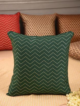 Green Chanderi Brocade Cushion Cover (L-16in, W-16in)