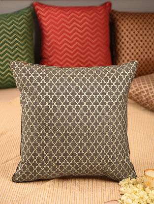 Charcoal Chanderi Brocade Cushion Cover (L-16in, W-16in)