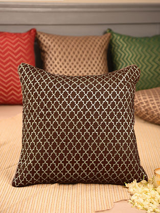Brown Chanderi Brocade Cushion Cover (L-16in, W-16in)