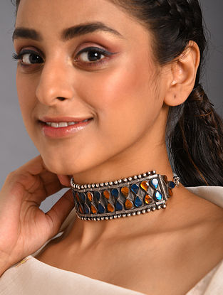 Yellow Blue Kundan Tribal Silver Choker Necklace