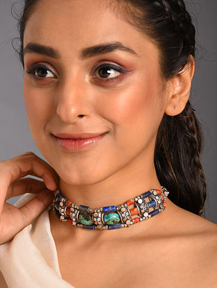 Multicolour  Tribal Silver Choker Necklace with Lapis Coral and  Turquoise