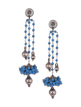Blue Tribal Silver Jhumki Earring with Turquoise