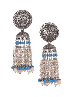 Turquoise White  Tribal Silver Jhumki Earring with Turquoise and Pearls