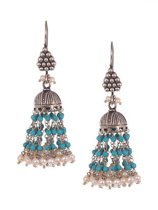 Turquoise White  Tribal Silver Earring with Turquoise and Pearls
