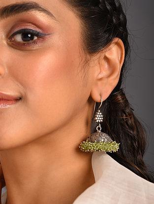 Green  Tribal Silver Earring with Peridot