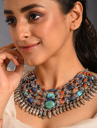 Multicolour Tribal Silver Necklace with Coral Turquoise and Lapis