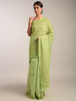 Green Chikankari Pure Kota  Saree