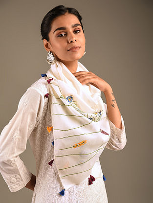 White Hand Embroidered Georgette Stole
