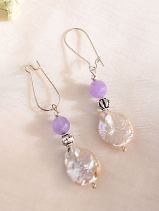 Purple White Handcrafted Earring With Agate