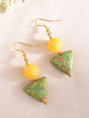 Yellow Green Handcrafted Earrings With Turquoise And Agate