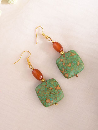 Green Orange Handcrafted Earrings With Turquoise And Carnelian