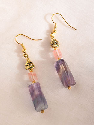 Pink Purple Handcrafted Earrings With Quartz And Fluorite
