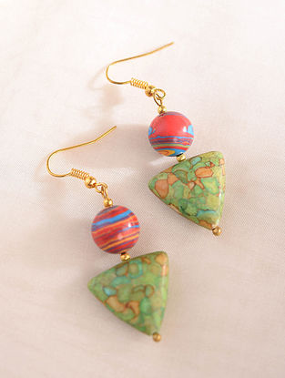 Green Red Handcrafted Earrings With Malachite And Turquoise