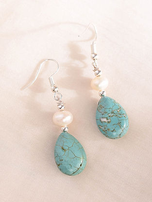 Turquoise And Pearls Handcrafted Earrings
