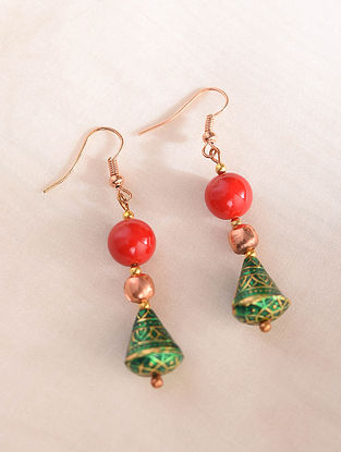 Red Green Enameled Earrings With Coral