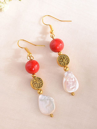 Red White Handcrafted Earrings With Corals And Pearls