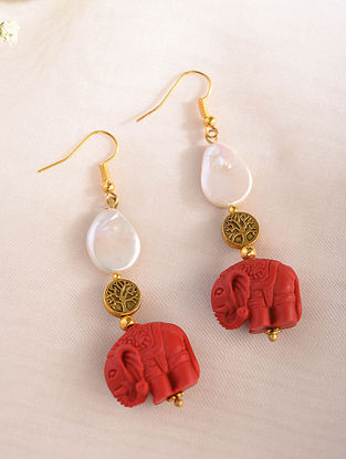 Red White Handcrafted Earrings With Pearls