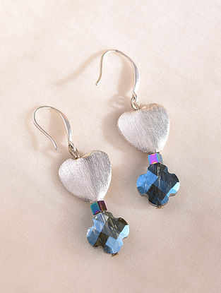 Blue Silver Tone Handcrafted Earrings With Crystal