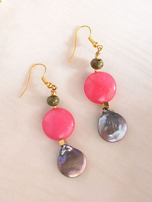 Pink Grey Handcrafted Earrings With Jade And Pearls