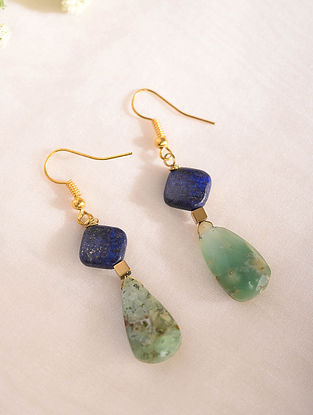 Blue Green Handcrafted Earrings With Lapis Lazuli And Amazonite