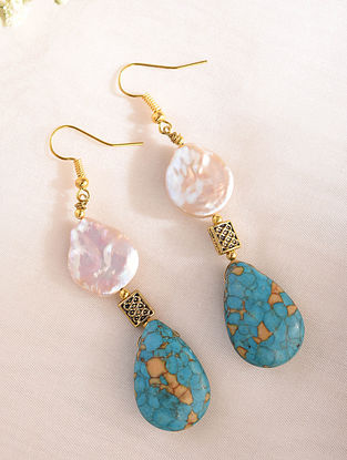Turquoise And White Pearl Handcrafted Earrings