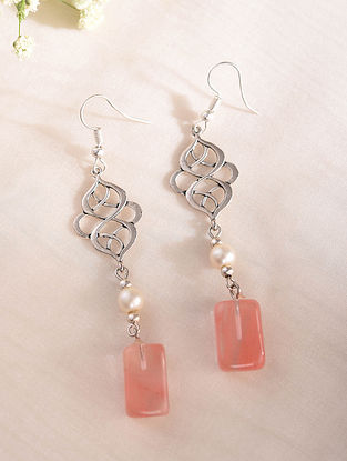 Pink White Silver Tone Handcrafted Earrings With Quartz