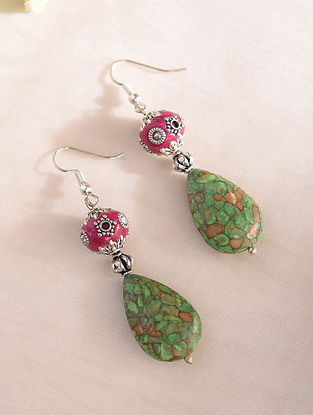 Green Pink Handcrafted Earrings With Turquoise